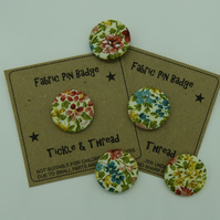 Floral Fabric Badge - 25mm Pin Badge - Textile Badge - 1 Inch Badge