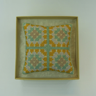 Pincushion - Cross Stitch 'Granny Square' in Soft Teal