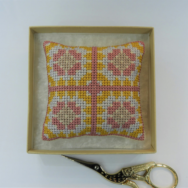 Granny Squares Cross Stitch Pincushion - Rose Pink