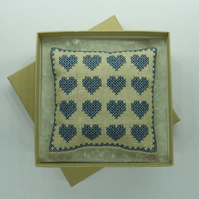Pincushion with Cross Stitch Hearts in Linen & Denim Blue