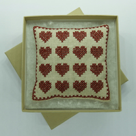 Pincushion with Cross Stitch Hearts in Linen & Deep Red