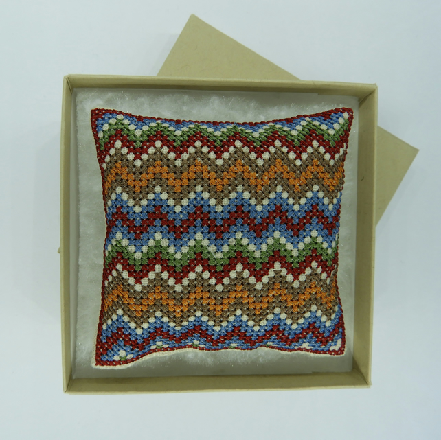 Pincushion with Autumnal Zig Zag Stripes on Linen