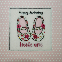 Pink Birthday Card - Happy Birthday Little One Card - Textile and Button Card