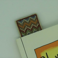 Linen Bookmark - Autumnal Zig Zag Cross Stitch Embroidery