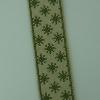 Linen Bookmark with Cross Stitch Embroidery