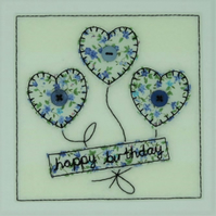 Hearts Embroidered Card - Birthday or Personalised