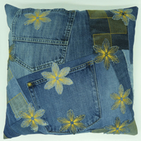 Denim Cushion - Upcycled Denim Cushion - Applique Denim Cushion - Patchwork