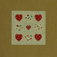 9 Hearts Embroidered Card
