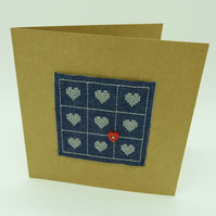 Love Hearts - Cross Stitch Card - Denim Embroidered Card - Modern Cross Stitch