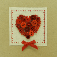 Love Heart Button & Bead Card - Red