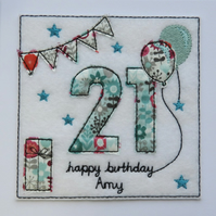 21st - Age 21 Birthday Card - Option to Personalise