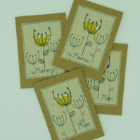 Mum - Mam - Mummy - Maman Card - Poppy Seed Heads - Textile & Embroidery Cards