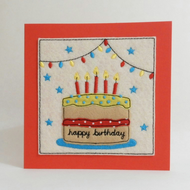Miraculous Birthday Cake Card Textile Birthday Card Ha Folksy Funny Birthday Cards Online Fluifree Goldxyz