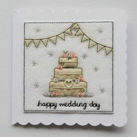 Wedding Cake Card - Happy Wedding Day - Textile Card - Embroidered Card