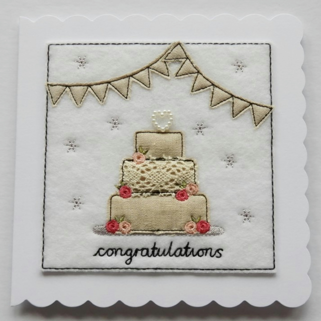 Wedding Cake Card - Wedding Congratulations - Textile Card - Embroidered Card