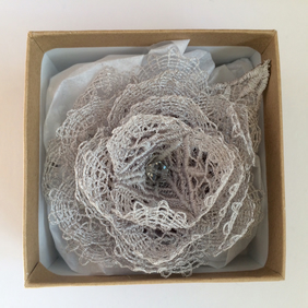 Grey Rose Brooch - Lace Rose Brooch - Roses - Rose Corsage