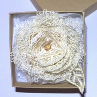 Ivory Rose Brooch - Lace Rose Brooch - Roses - Cream Lace Rose - Rose Accessory