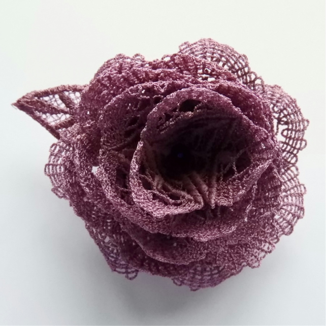 Heather Rose - Lace Rose Brooch - Roses - Purple Heather Rose Brooch - Lace Rose