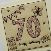 70th - Floral 70th Birthday Card - Age 70 Card - 70th Card - Adult birthday Card