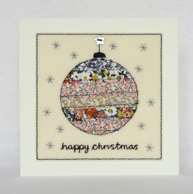 Liberty Bauble Christmas Card - Textile Christmas Card - Christmas Bauble