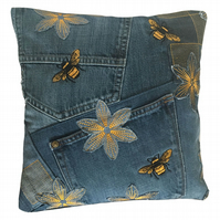 Bee Cushion - Upcycled Denim Cushion - 30cm Cushion - Patchwork - Bees