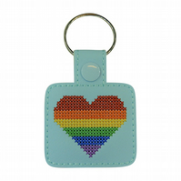 Rainbow Heart Keyring - Rainbow Gift - Heart Cross Stitch Embroidered Keyring