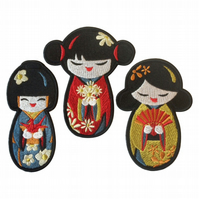 Kokeshi Doll Sew on patch - Japanese Doll Patch - Embroidered Japanese Doll