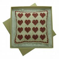 Pincushion - Cross Stitch Heart Pincushion - Craft Gift - Sewing Gift