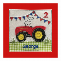 Tractor Birthday Card - Boys Personalised Tractor Card - Kids Tractor Card