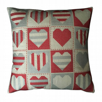Cross Stitch Cushion - 40cm Linen Cushion - Grey and Red Hearts Cushion