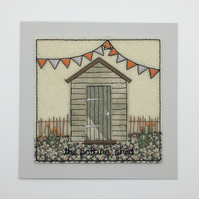 The potting shed - Shed greetings card - Textile Embroidered Card