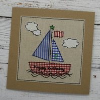 Boat Birthday Card - Childrens Sail Boat Birthday Card - Kids Boat Card