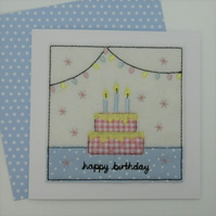 Birthday Cake Card - Textile Birthday Card - Happy Birthday Pink and BlueCard