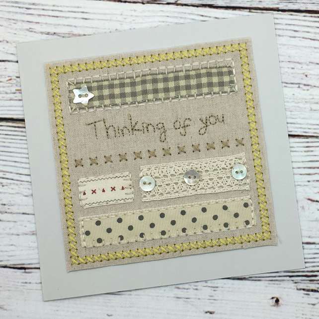 Thinking of you Card - Textile Embroidered Card - Stitched Card - Cross Stitch