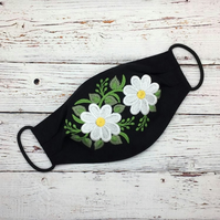 Daisy Face Mask - Black Linen Facemask -  Linen Diasies Embroidered Mask