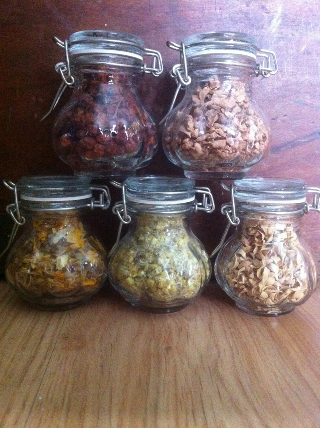 Four 100ml jars of herbs for Witches Ritual spell casting Magic