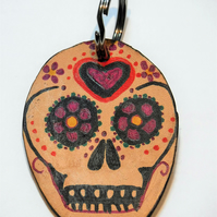 Sugar skull leather keyring
