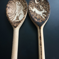 Hand burned moon gazing hare wooden spoons