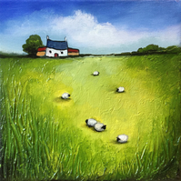 Welsh cottage with sheep ,textured acrylic painting