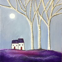 Paper trees, little houses, mixed media painting