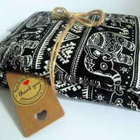 Handmade Wheat Lavender Microwave Heat Chill Bags Black Indian Elephant Mystic
