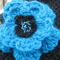 Hand crocheted layered flower brooch in teal and black - free uk p&p