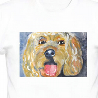 Cavapoo on white 100% Cotton - T - Shirt Size Medium