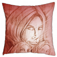 Five - burgundy cushion with image on both sides 40cm x 40cm