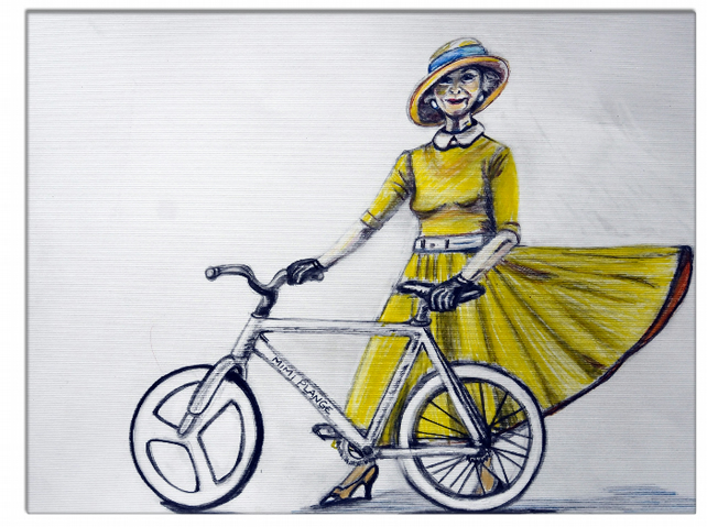 Lady in Yellow - Canvas Print - 90cm x 60cm