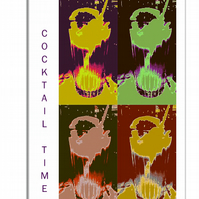 Cocktail Time 2 - with words down left side Canvas Print 60 x 40
