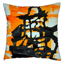 The Temple abstract orange and black cushion 40cm x 40c,m