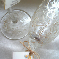 Pair of Hand Painted Champagne Flutes 'Entwined' (in Pearl)