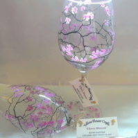 Pair of Hand Painted Wine Glasses 'Cherry Blossom'
