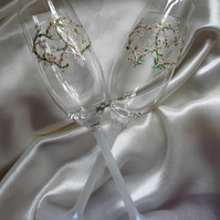 Pair of Hand Painted Champagne Flutes 'Hearts & Flowers'